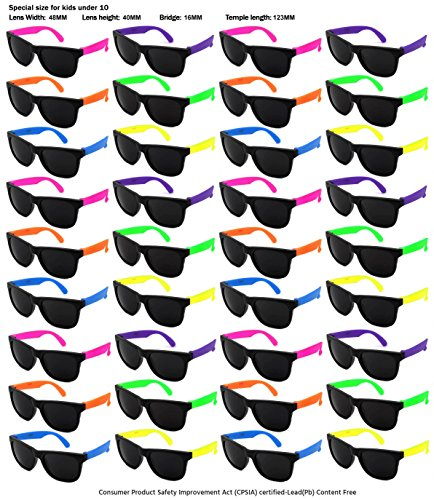 Edge I-Wear 36 Pack Neon Party Sunglasses with CPSIA certified-Lead(Pb) Content Free and UV 400 Lens (Made in Taiwan) (Kid-Asst, Black)
