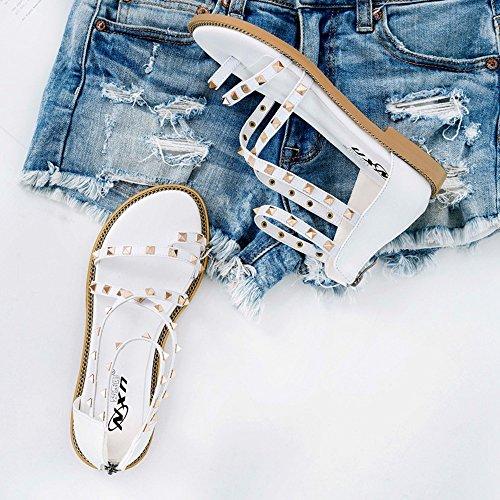 ZHIRONG Sandalias planas de la manera del verano de las mujeres Zapatos romanos del estudiante del estilo del remache Zapatos de la playa de Bohemia ( Color : Blanco , Tamaño : EU38/UK5.5/CN38 ) Blanco