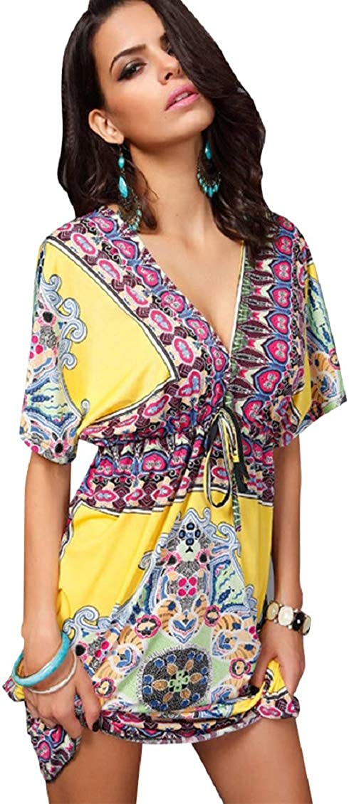 Tuopuda Copricostume da Bagno Donna Estate Abito da Spiaggia Mare Kimono V-Collo Boho Bikini Cover Up Camicetta