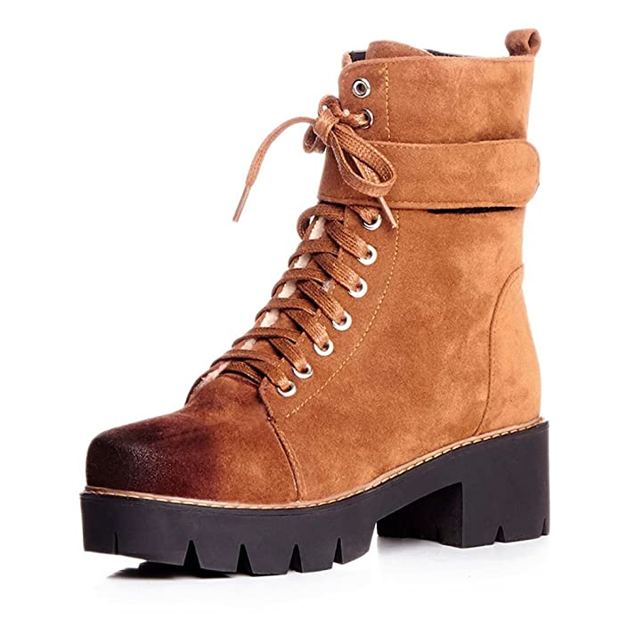 Kaloosh Women's Comfortable Round Toe Flat Lace up Ankle Boots L3Zk2Oy