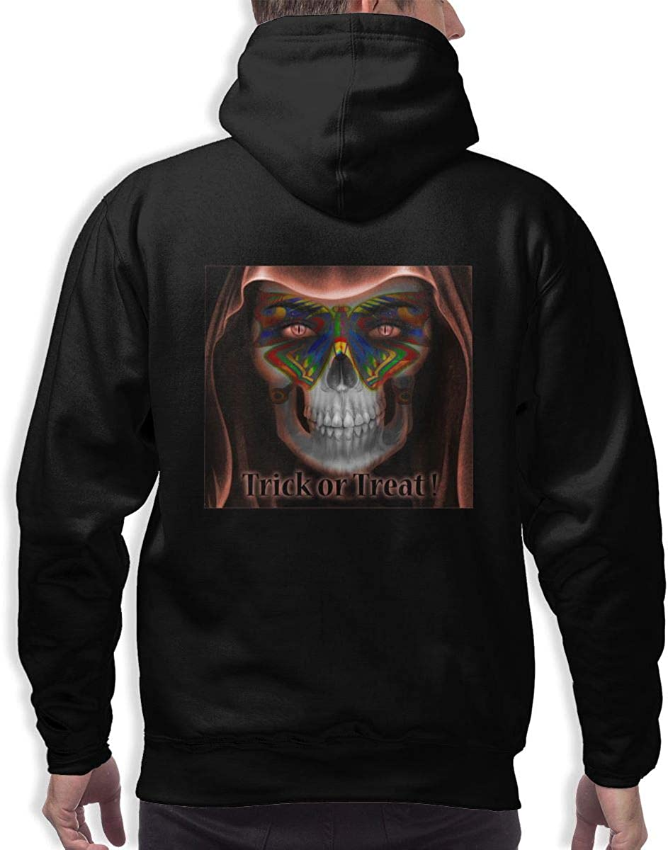 Trick Or Treat Halloween Mens Hooded Pocket Sweater Long Sleeve Classic