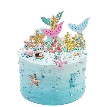 QUQUET Mermaid Ocean Cupcake Toppers Wedding Girl ...
