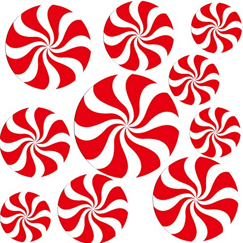 Jovitec 10 Pieces Peppermint Floor Decals Stickers 4 Sizes for Christmas Candy Party Decoration