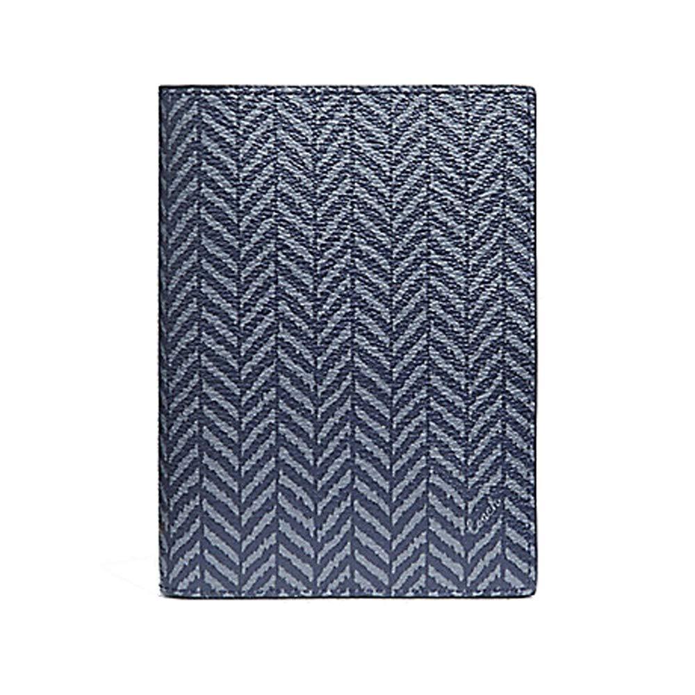 Coach Leather Passport Case Holder in Herringbone Print - #F73585