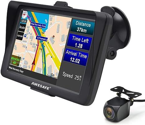 Awesafe Gps Avec Caméra De Recul 2020 7 Pouces 8 Go Bluetooth Navigation Gps Pour Voitures Camions Mises à Jour Gratuites à Vie Mode Camion Nécessite Mises à Jour Des