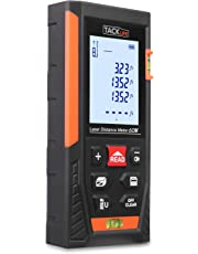 Tacklife Laser Measure 196Ft M/in/Ft Portable Laser Distance Meter with 2 Bubble Levels, Backlit LCD and Pythagorean Mode, Measure Distance, Area and Volume,Carry Pouch and Battery Included HD60