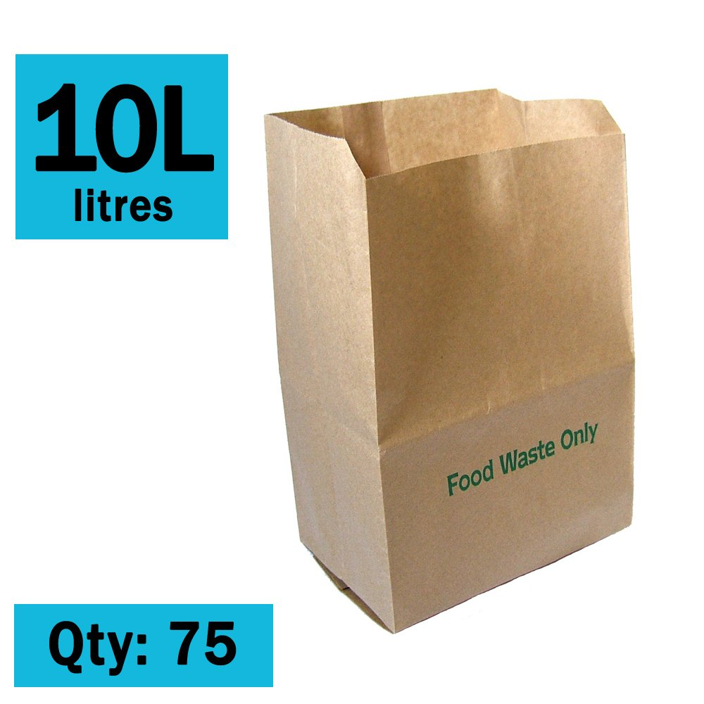 10 Litre x 75 Paper Compostable Bags Kitchen Caddy Liners - Food Waste Bin Liners - EcoSack 10L Biodegradable Bags with Composting Guide