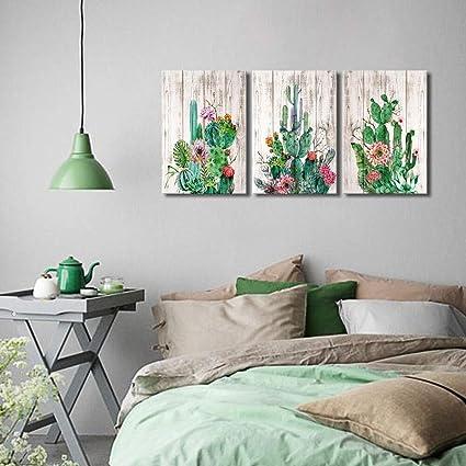 Amazon.com: Cactus Decor Wall Art for Bedroom Watercolor Wooden ...