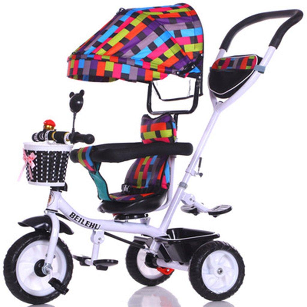 4-in-1 Kinder Dreirad Paw Patrol, Multifunktions Trolley Fahrrad Kinder Push Trikes für Baby 3 Rad Fahrrad mit Anti-UV Markise (Weiß Bike + mehrfarbige Markise) (Farbe   A)