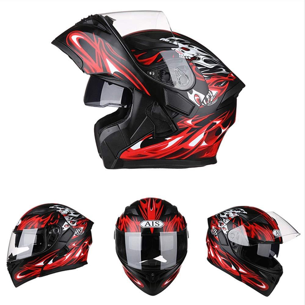 SK-LBB Integral Helme Motorrad helm cool b/öse Seele Flamme Motorradhelm Front Flip Double Lens Anti-Fog und Anti-UV Ghost Knight Integralhelm L:58~59cm