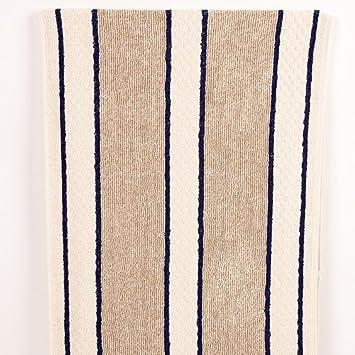 Aga Range Poppered Towel Navy Blue And Cream Stripes Amazon Co Uk