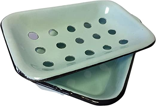 Cream Vintage Style Metal Enamel Soap Dish w// Drainage Holes
