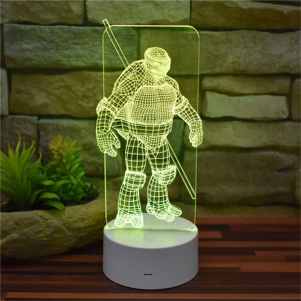 Umgebungslicht, Teenage Mutant Ninja Turtle Donatello 3D Illusion Nachtlicht USB-Fernbedienung 16 Farbwechsel Acryl LED Tischlampe Dekoration Licht Raumdekoration Kreatives Modell Spielzeug Kinder Ges