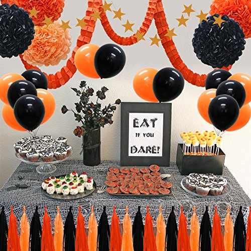 41pcs Party Decorations Supplies Kit - Paper Lanterns Balloons Tassels Hanging Garland Banner Tissue Pom Poms Flowers Clover Garland Paper Garland for Baby Showers Bridal Birthday Halloween Events