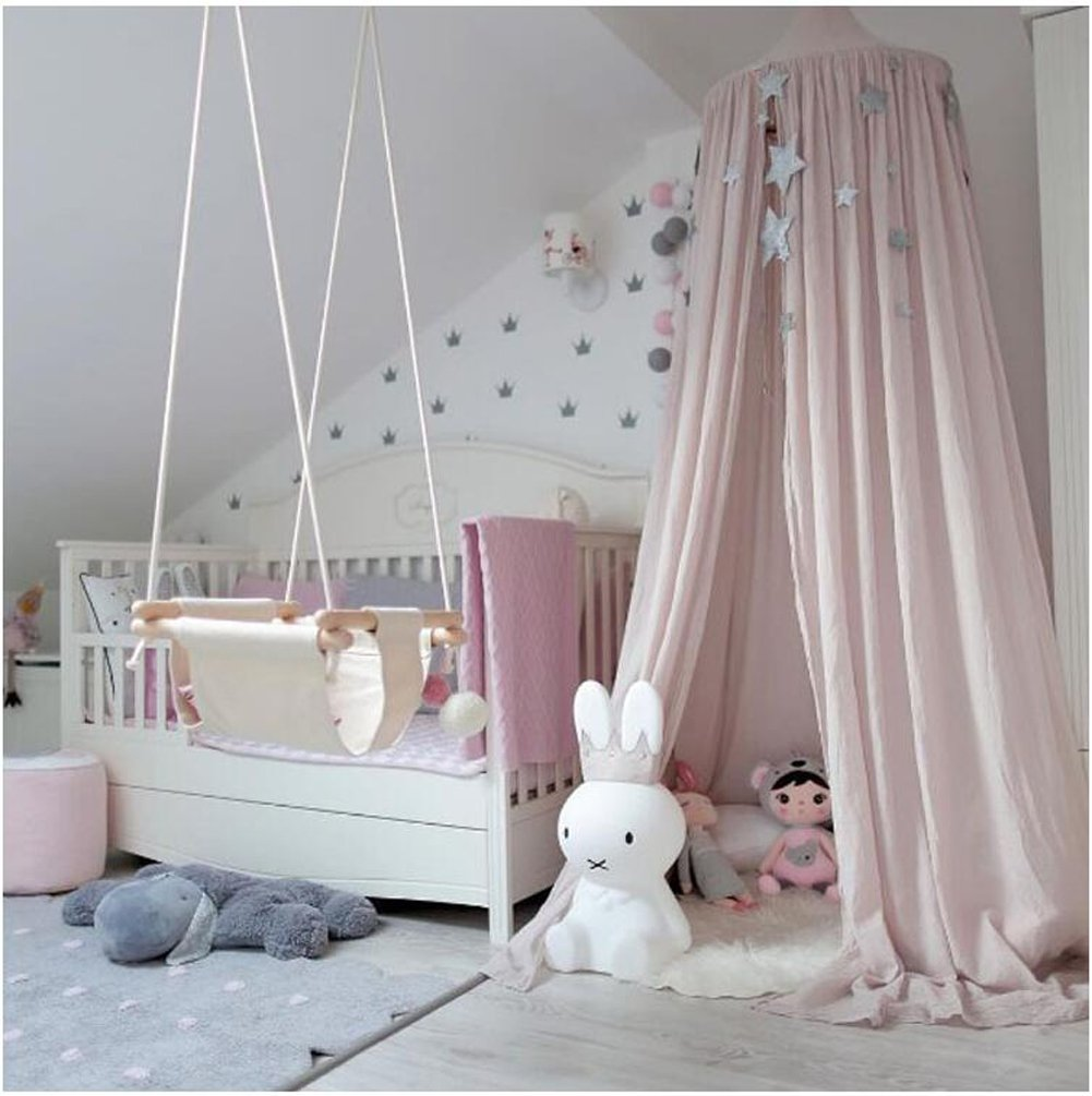 Princess Bed Canopy Mosquito Net for Kids Baby Crib, Round Dome Kids Indoor Outdoor Castle Play Tent Hanging House Decoration Reading nook Cotton Canvas Height 240cm/94.9 inch (Navy) by Hotmiss (Image #6)