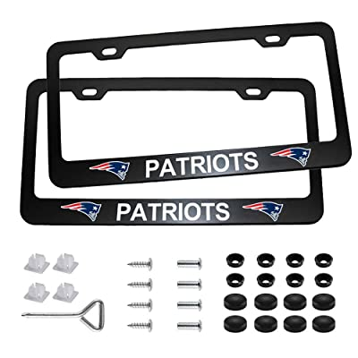 Auto Parts 2pcs with American Football Team Logo License Plate Frames with Screw Caps Set Stainless Steel Frame Applicable to US Standard Cars License Plate (New England Patriots): Automotive