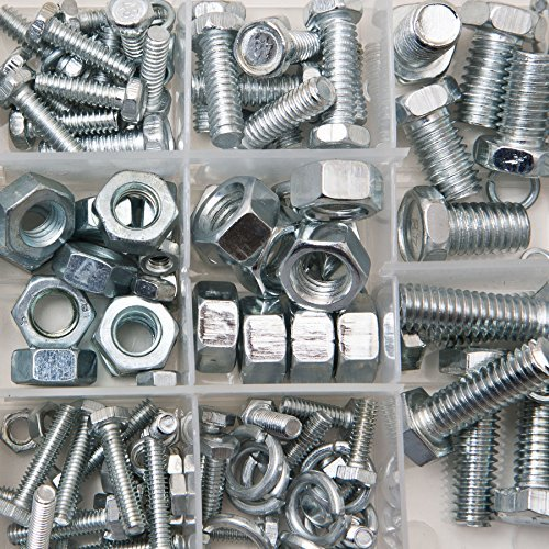 Brackit Bolts and Nuts Set - 240 pcs. - inc. Machine Bolts, Lock Washers and Hex nuts