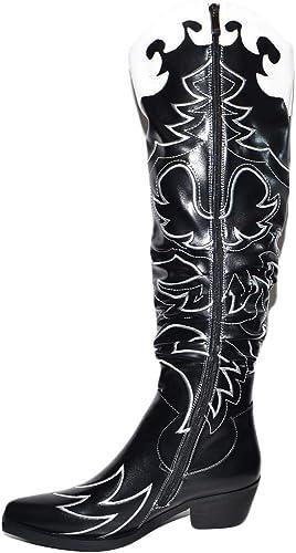 Stivali donna camperos texani tacco basso western neri con