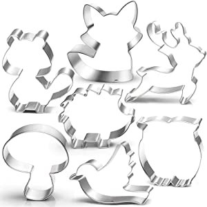 Woodland Cookie Cutter Set-7 Piece-3 Inches-Fox, Owl, Deer, Bird, Hedgehog, Squirrel, Mushroom, Forest Animal Cookie Cutters Molds for Kids