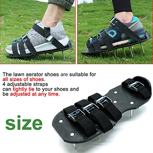 Blissun Lawn Aerator Shoes, 4 Aluminum Alloy Buckles Spiked Aerating Lawn Sandals, 26 Nails for Aerating Your Lawn or Yard, 4 Adjustable Straps Universal Size by Blissun (Image #3)