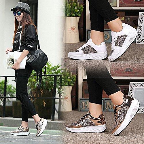 Shoes Sneakers QZBAOSHU Girls Fashion Women Sports Wedges 3 Gold Fitness Running for qA8UnxR8