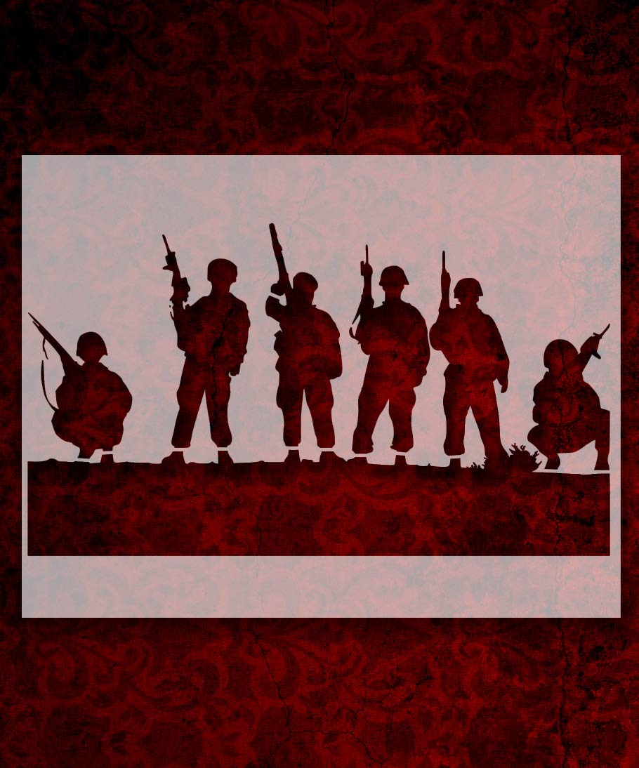 Soldier Men Rifles 22 x 17 Inches Stencil 586q
