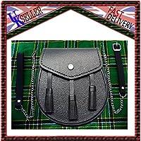 Scottish Black LEATHER Kilt SPORRAN and Belt 3