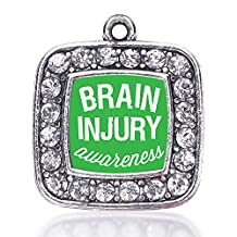 Inspired Silver Brain Injury Awareness Loose Square Charm with Crystal Rhinestones