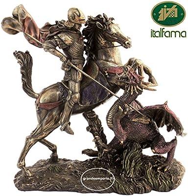 Estatua San Jorge y el dragón, de resina bronce acabado a mano cm ...