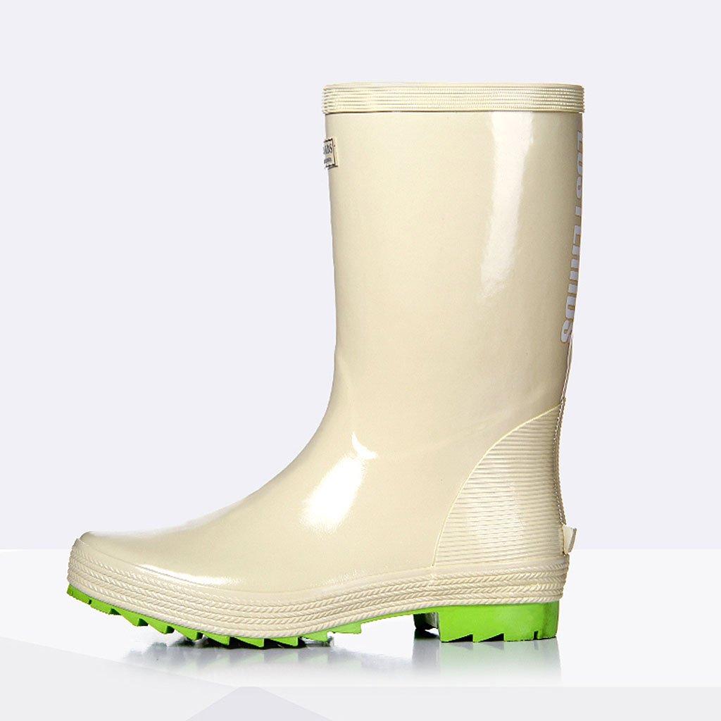 Regen Schuhe Für Männer Hohe Rohr Naturkautschuk Wasserdicht Anti-rutsch-Regen Stiefel Angeln Für Frühling Sommer Outdoor Angeln Stiefel Beige 15a9d0