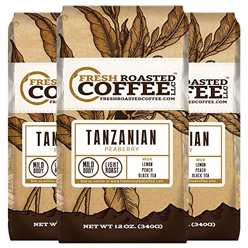 Tanzanian Peaberry Coffee, 12 oz. Ground Bags, Fresh Roasted Coffee LLC. (3 Pack)