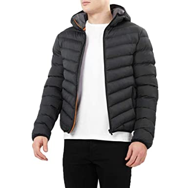 c086d2841 Brave Soul Mens Grant Plain Hooded Padded Quilted Puffer Jacket ...