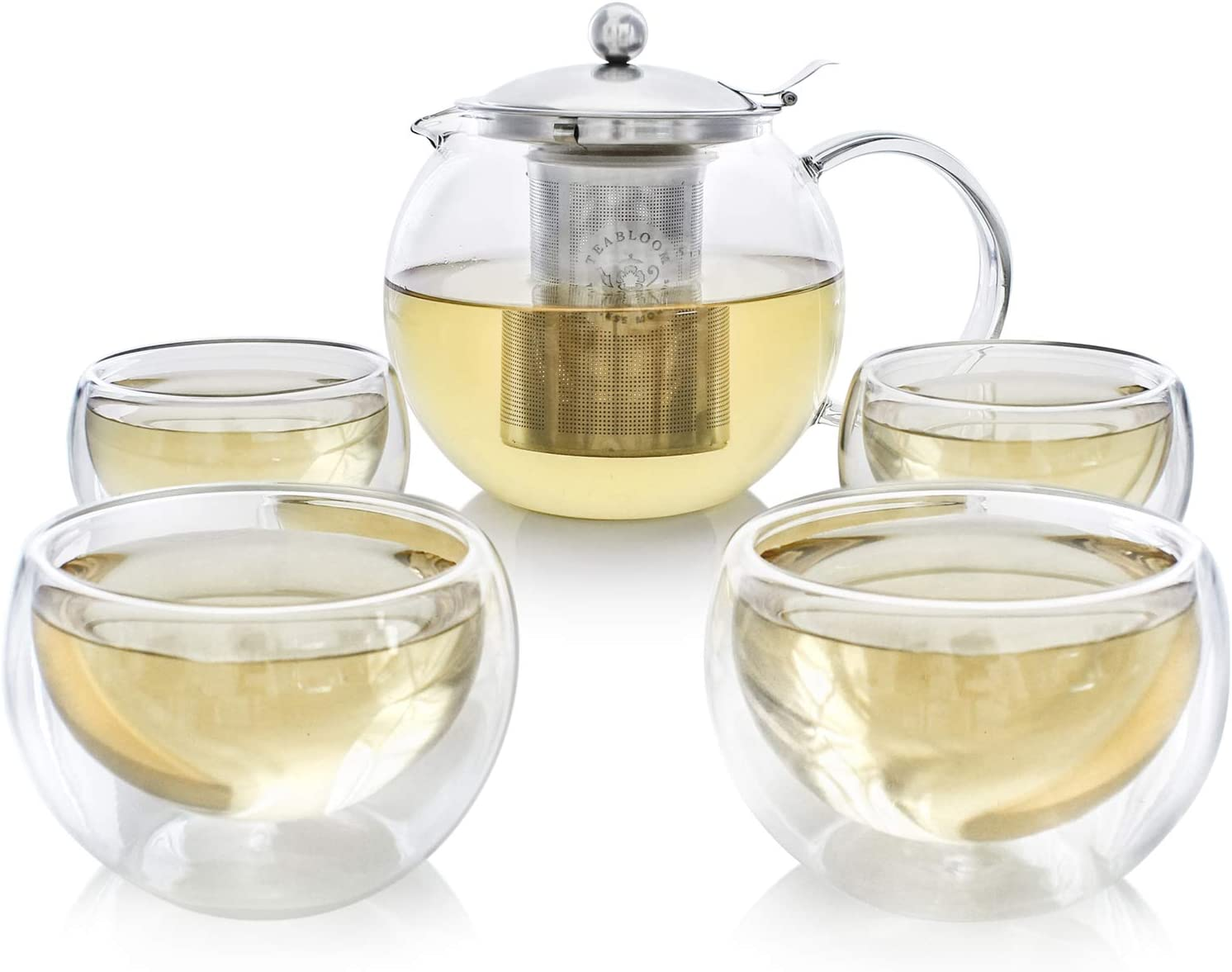 Teabloom Stovetop Safe + Lead-Free Glass Teapot Set (40 OZ / 1200 ML) with Removable Stainless Steel Infuser for Loose Tea – Includes 4 Insulated Double Wall Glass Cups (5 OZ / 150 ML)
