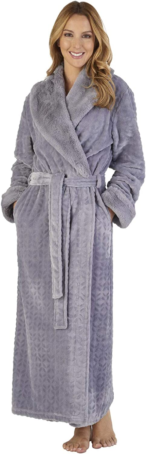 Slenderella HC2343 Women's Faux Collar Robe Loungewear Bath Dressing Gown