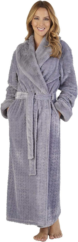 TALLA M. Slenderella HC2343 Women's Faux Collar Robe Loungewear Bath Dressing Gown