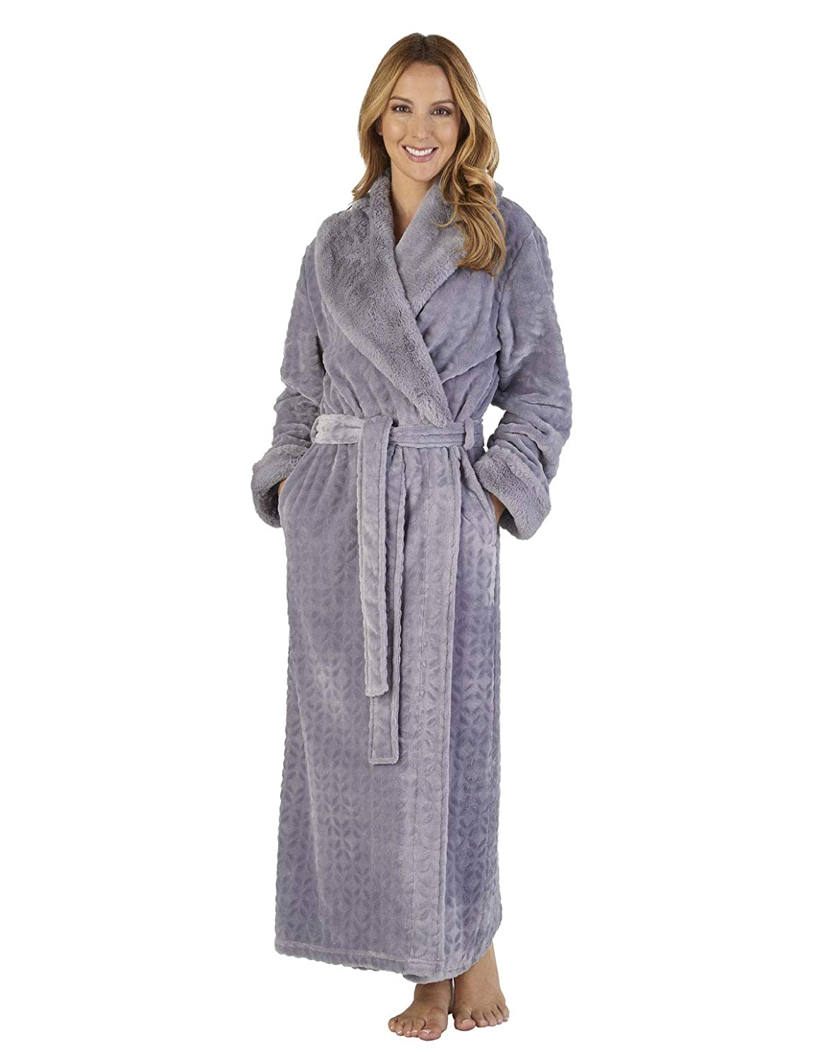 TALLA S. Slenderella HC2343 Women's Faux Collar Robe Loungewear Bath Dressing Gown
