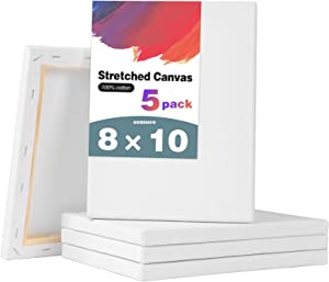 Ozazuco Stretched Canvas for Painting- 8x10 Inch, Pack of 5,White Blank Canvas, 100% Cotton,Primed,for Art Supplies for Acrylics, Oil Painting, DIY Wall Décor