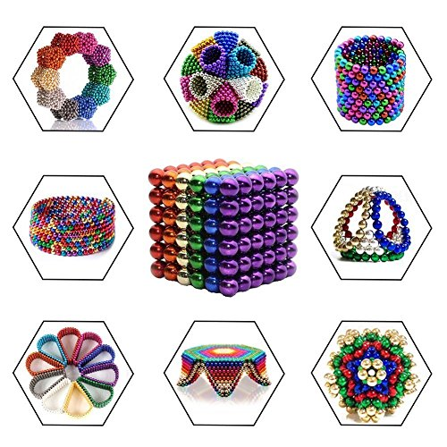 Beautychen Magnetic Cube 216pcs 5mm Magnets Blocks Magnetic Square Cube Children's Puzzle Magic Cubes DIY Educational Toys for Kids Intelligence Development and Stress Relief (Golden) by Beautychen (Image #6)