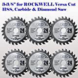 Pack of 6 24 Carbide Tip 3-3/8-inch WOOD Circular Saw Blade for...
