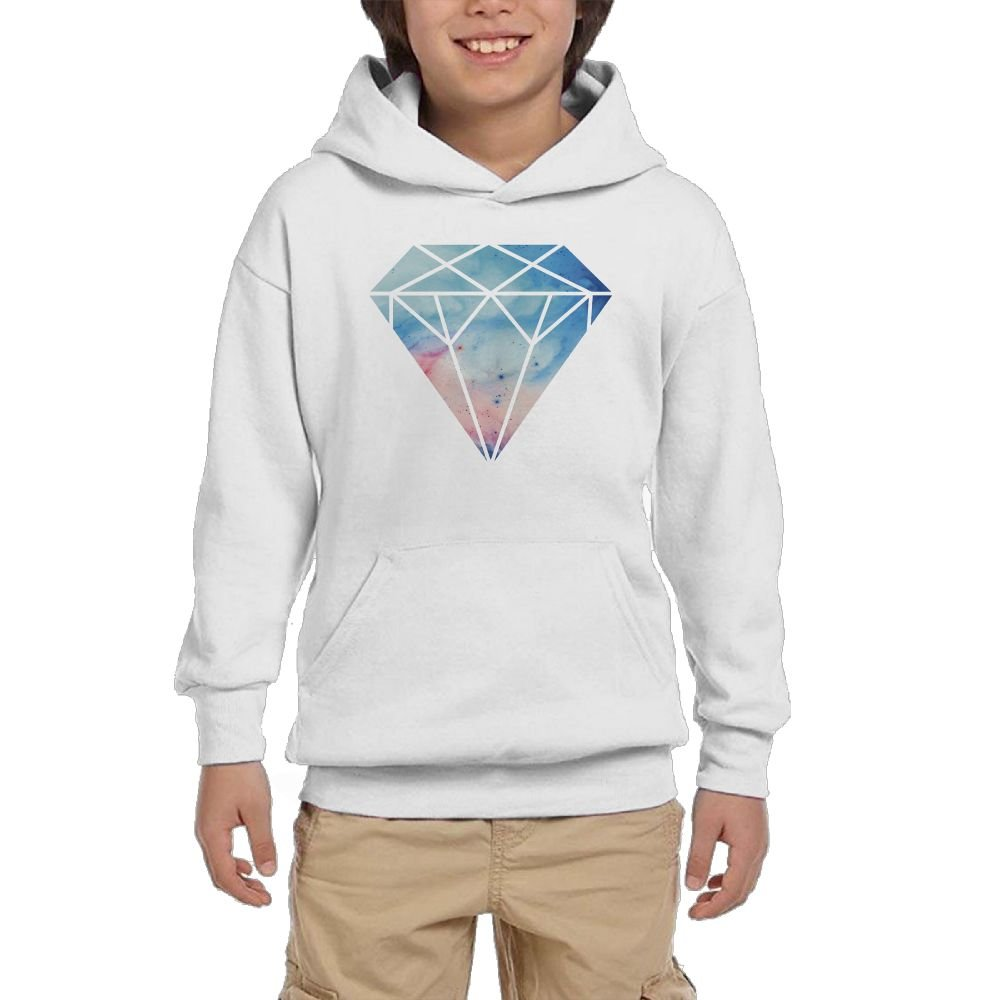 Gradual Change Color Blue Diamond Sticker Youth Fashion Casual Hooded Pocket Sweater