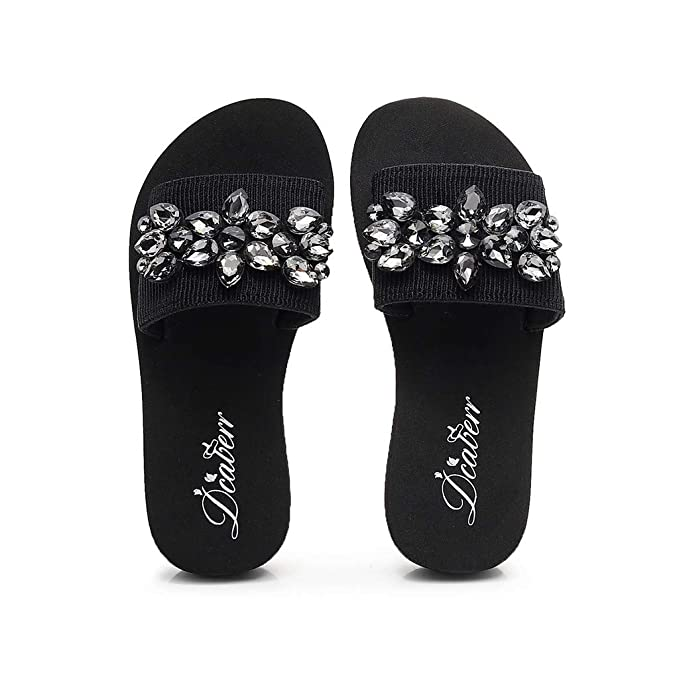 47a350c5898f Ljnuanrg Women Solid colorHand-Made Crystal Wedges Flip Flops Sandals  Slippers Beach Shoes (Black