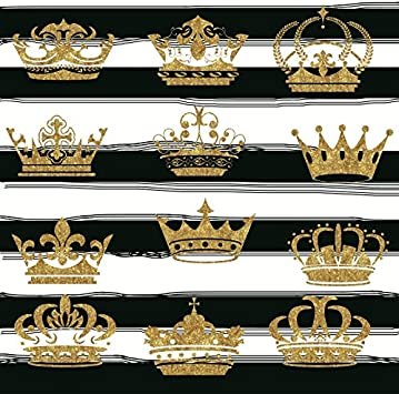 Amazon Com Laeacco Black And White Stripes Background 6 5x6 5ft Vinyl Photography Background Gold Crown Chic Decoration Striped Backdrop Photo Video Studio Props Camera Photo