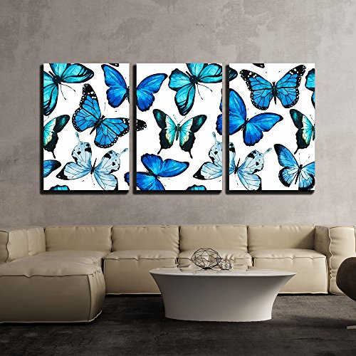wall26 - 3 Piece Canvas Wall Art - Vector - Beautiful Vector Pattern with Nice Watercolor Butterflies - Modern Home Decor Stretched and Framed Ready to Hang - 24