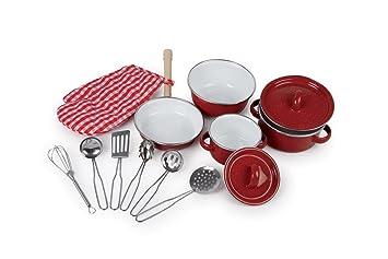 Merveilleux Kochgeschirr, Rot Kinderküchen Töpfe Aus Metall   NEU