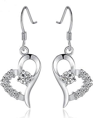 CKH Herz 925 Silber Lady Ohrringe Mode Herz Frau Ohrring