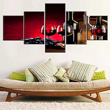 Amazon Com Red Wall Decor Still Life With Wine Bottles Pictures Wooden Barrel Paintings Multi Panel Canvas Wall Art For House Retro Artwork Framed Ready To Hang In Living Room Poster And Prints 50 W
