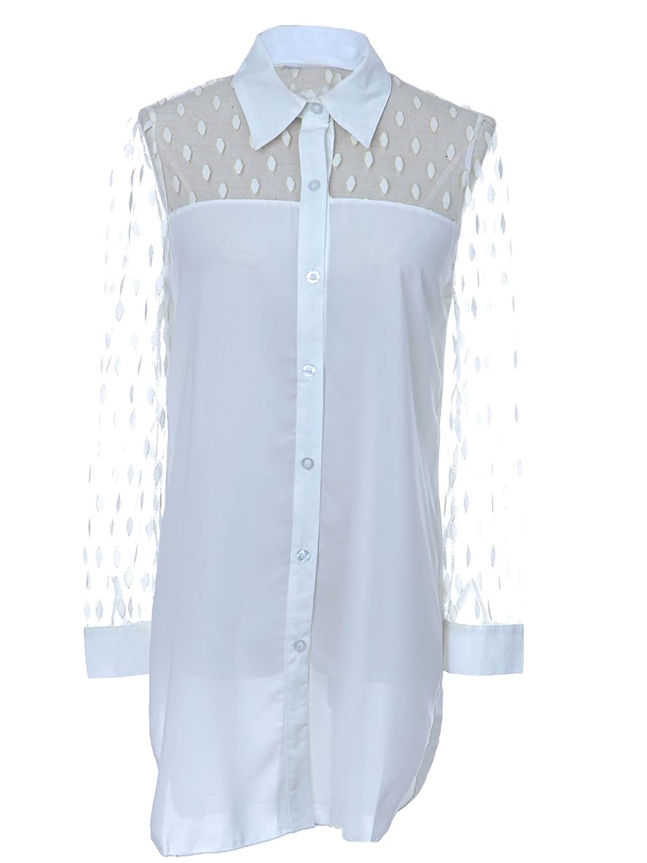 Anna-Kaci S/M Fit White Polka Dot Pattern Semi Sheer Dress w Uneven Hemline