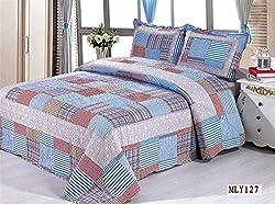 Joybuy Home Textile Patchwork Queen Quilt Rustic Bedding 3pcs