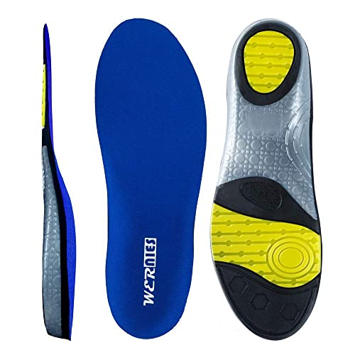 f4b9e71a07 wernies Running Shoes Inserts for Men Women, Athletic Neutral Arch Comfort  Insole Size XL Blue
