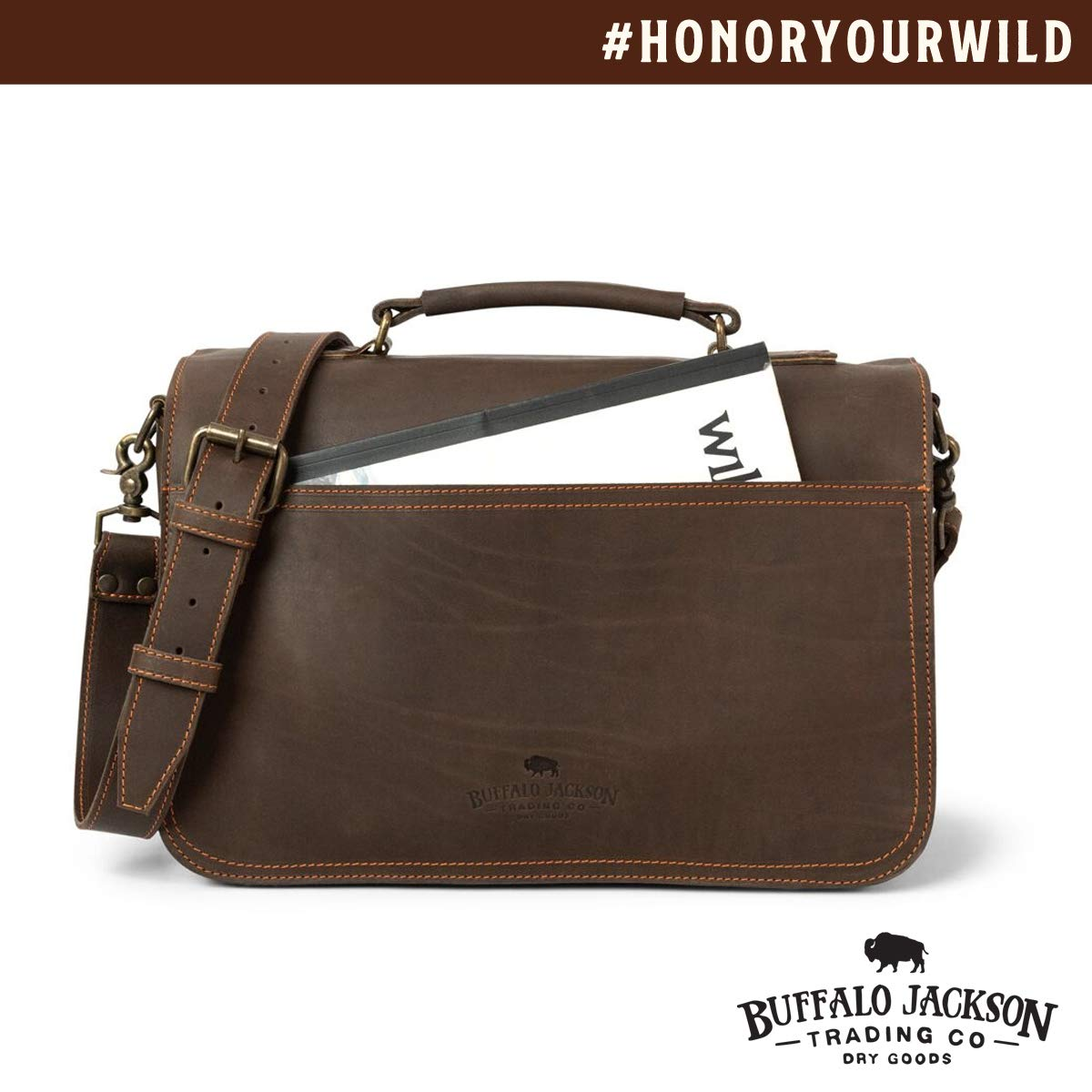 Denver by Buffalo Jackson Full Grain Bison Leather Messenger Bag for Men Dark Briar w//Orange Fits 13 14 15 Laptop